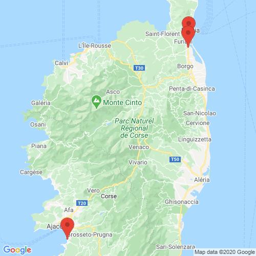 Carte des Escape Games de la région Corse