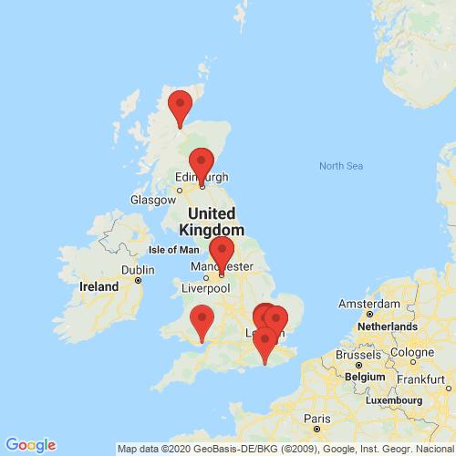 Carte des Escape Games de la région Royaume-Uni