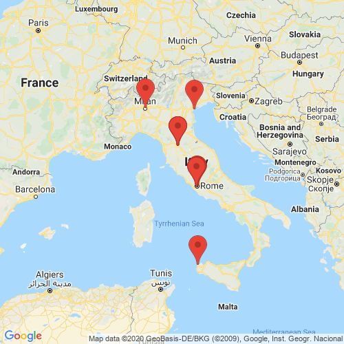 Carte des Escape Games de la région Italie