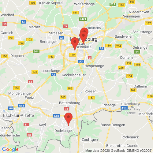 Carte des Escape Games de la région Luxembourg