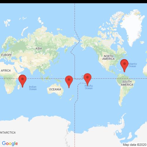 Carte des Escape Games de la région OutreMer