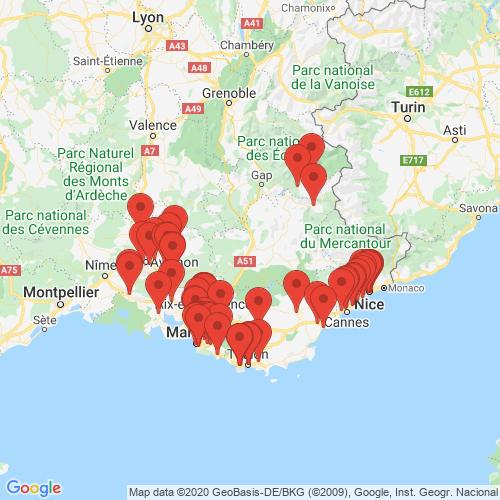 Carte des Escape Games de la région Provence-Alpes-Côte d'Azur