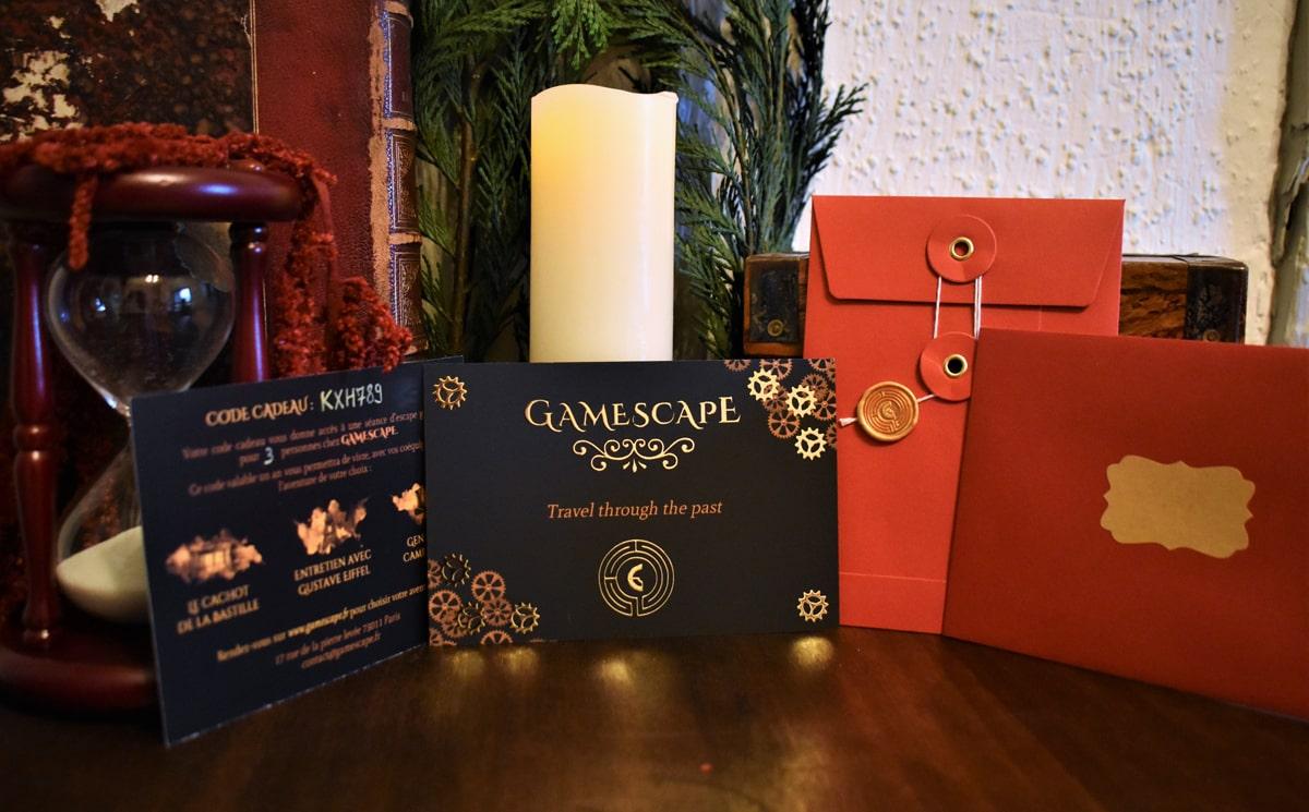 Gamescape bon cadeau escape game enveloppe cachetée